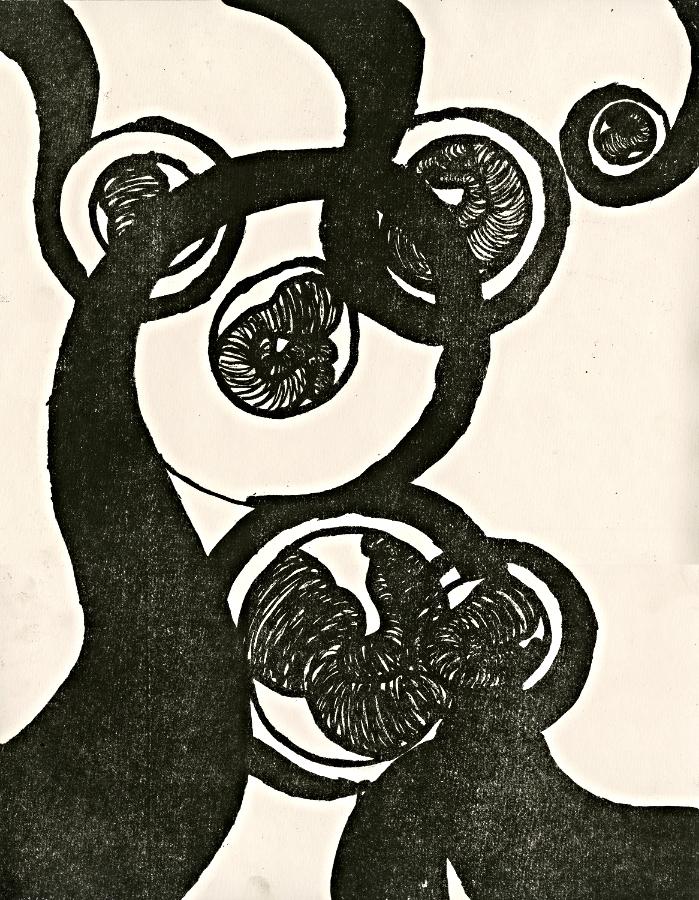 "Fetus II   Lithograph   14 x 18""   2014"