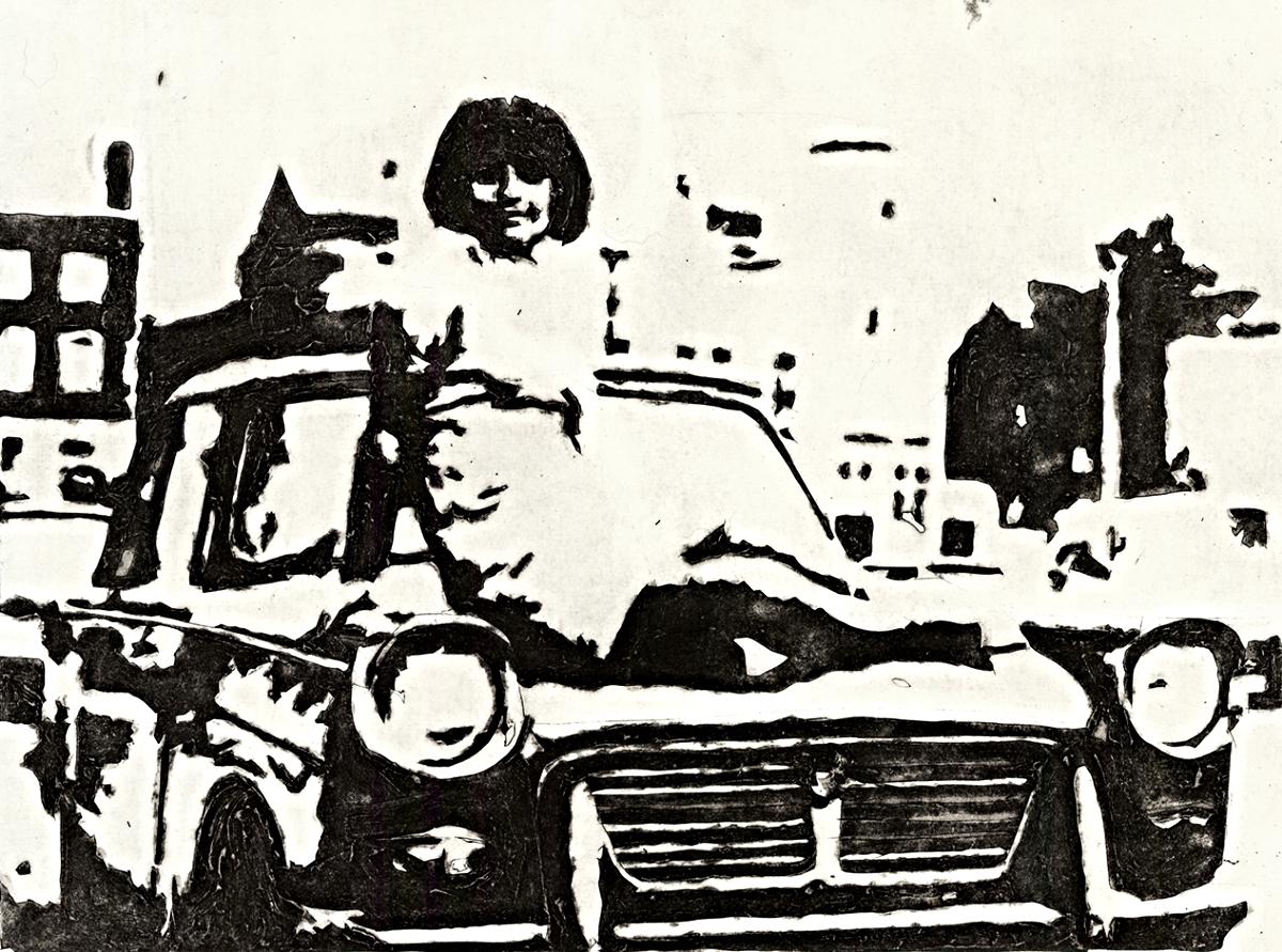 "Joslyn in London   Collagraph   15"" x 22""   2013"