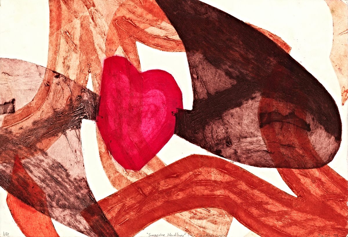 "Sanguine Heartlines | Collagraph | 15"" x 22"" | 2012"