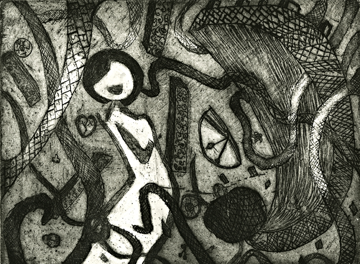 """Caustic Dreams   Line Etch and Aquatint   11"""" x 15""""   2012"""