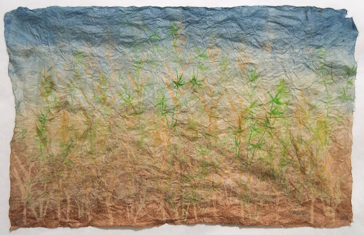 "Fading Forests    Monoprints on indigo and kakishibu dyed konnyaku treated hanji   21.5"" x 13.5""   2017"