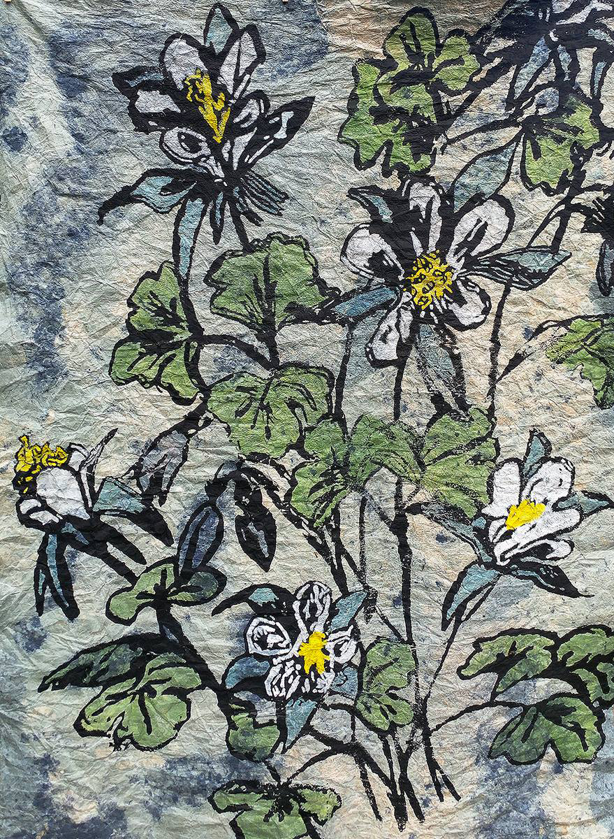 """Songbird Bluebird   Silkscreen with hand coloring on handmade paper   48"""" x 72""""   2017"""