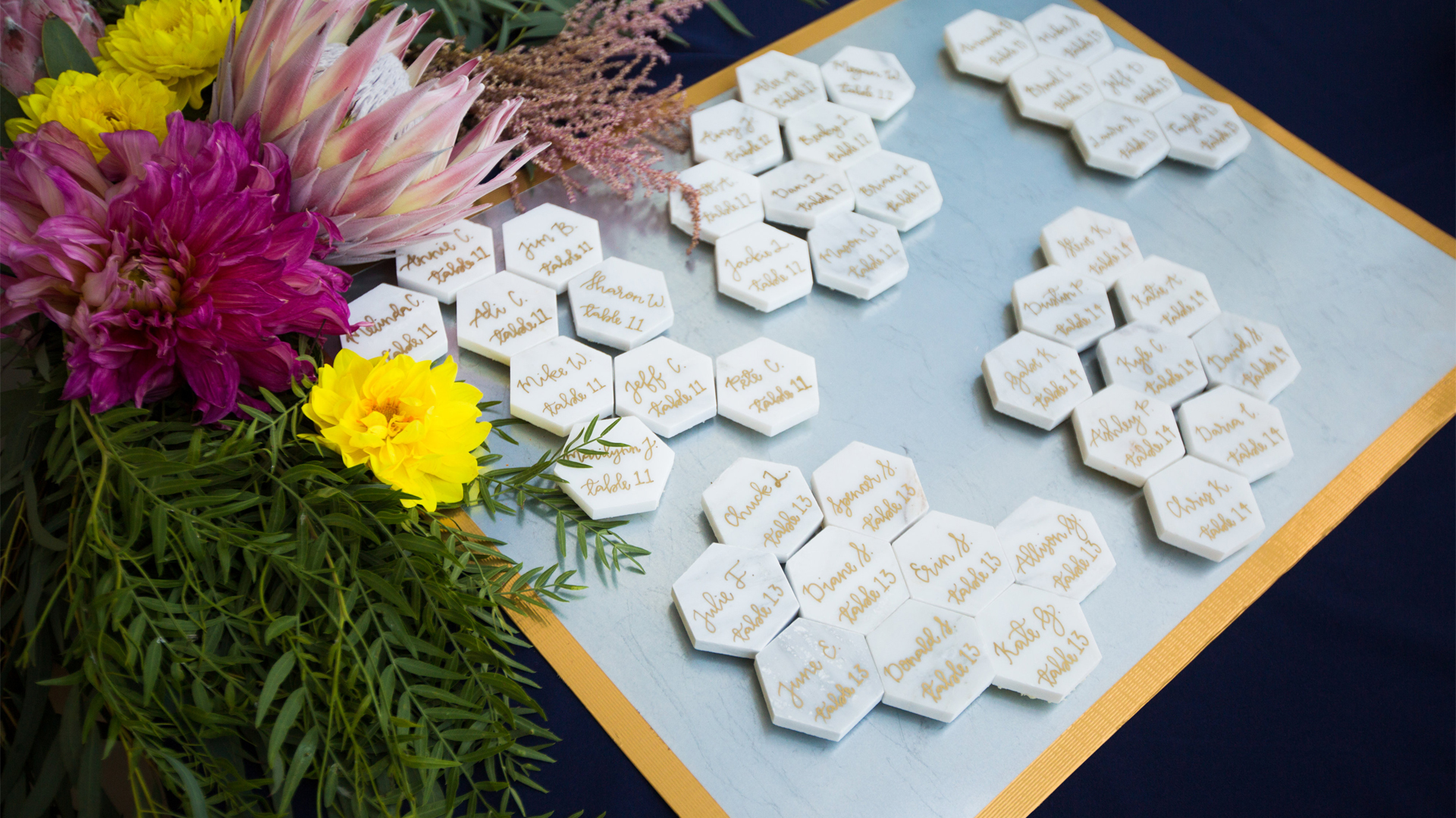 Marble Tile Calligraphy Wedding Name Cards