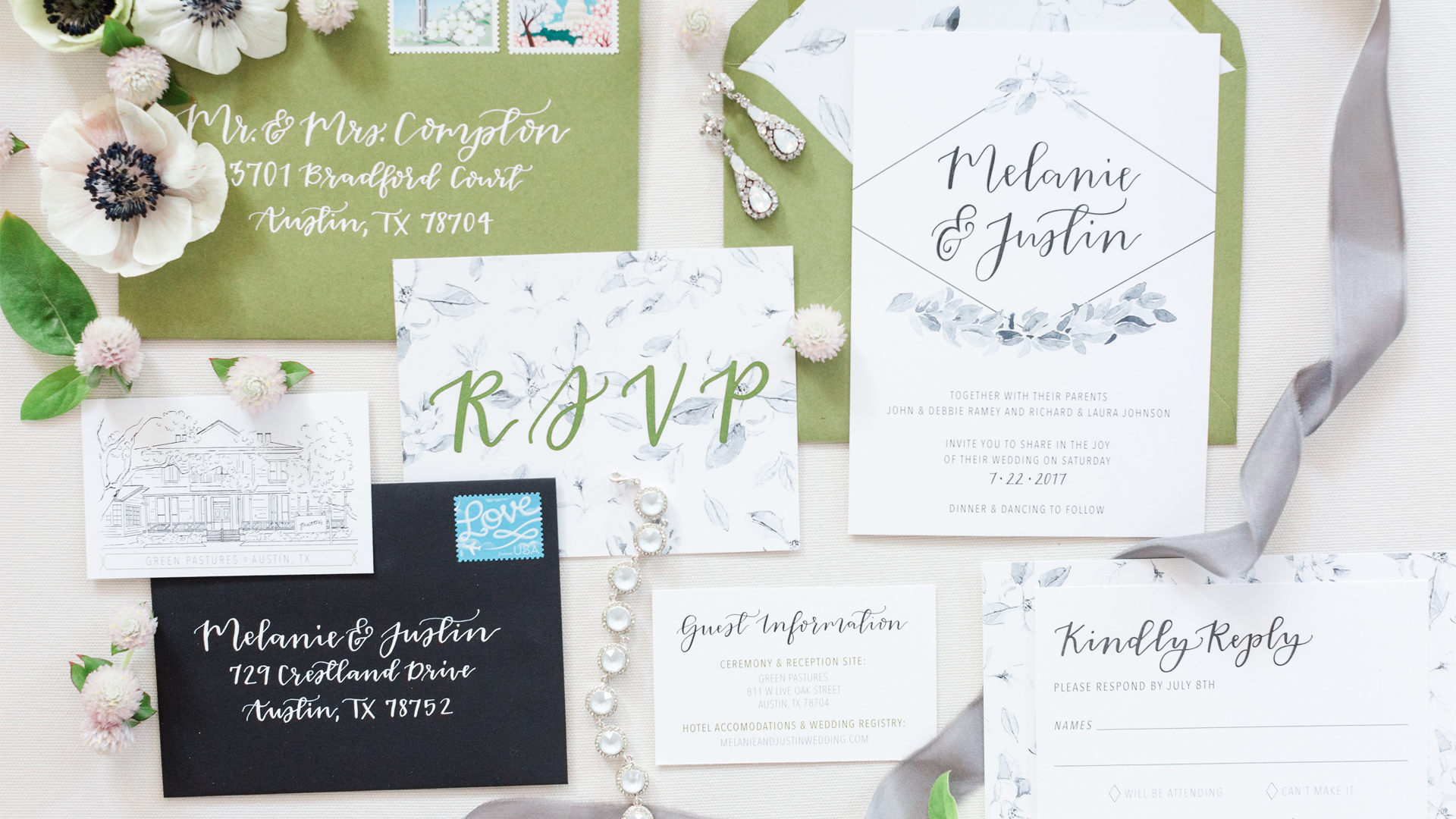 Southern Themed Wedding Invitation Suite