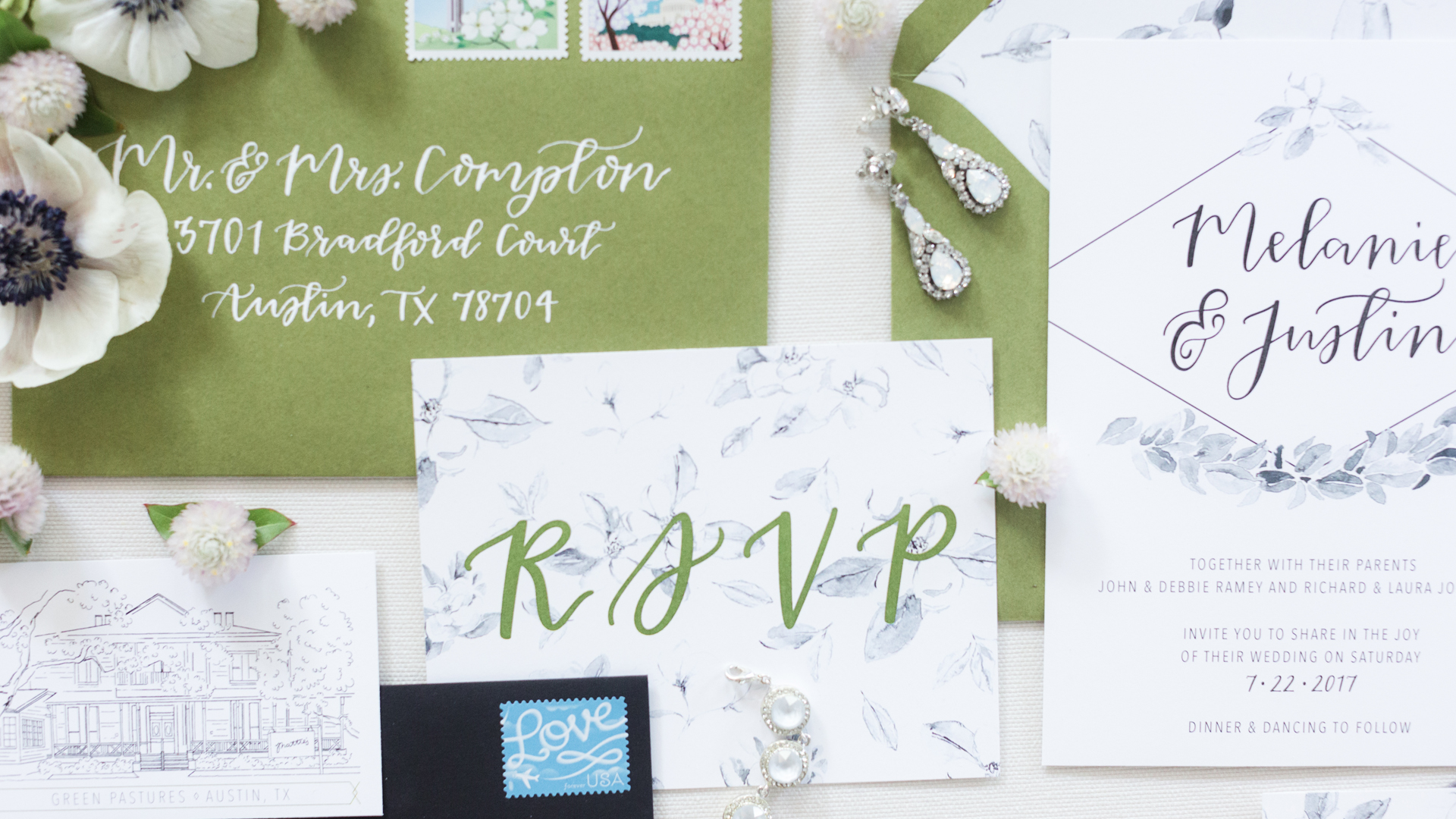 southern themed calligraphy invitation suite