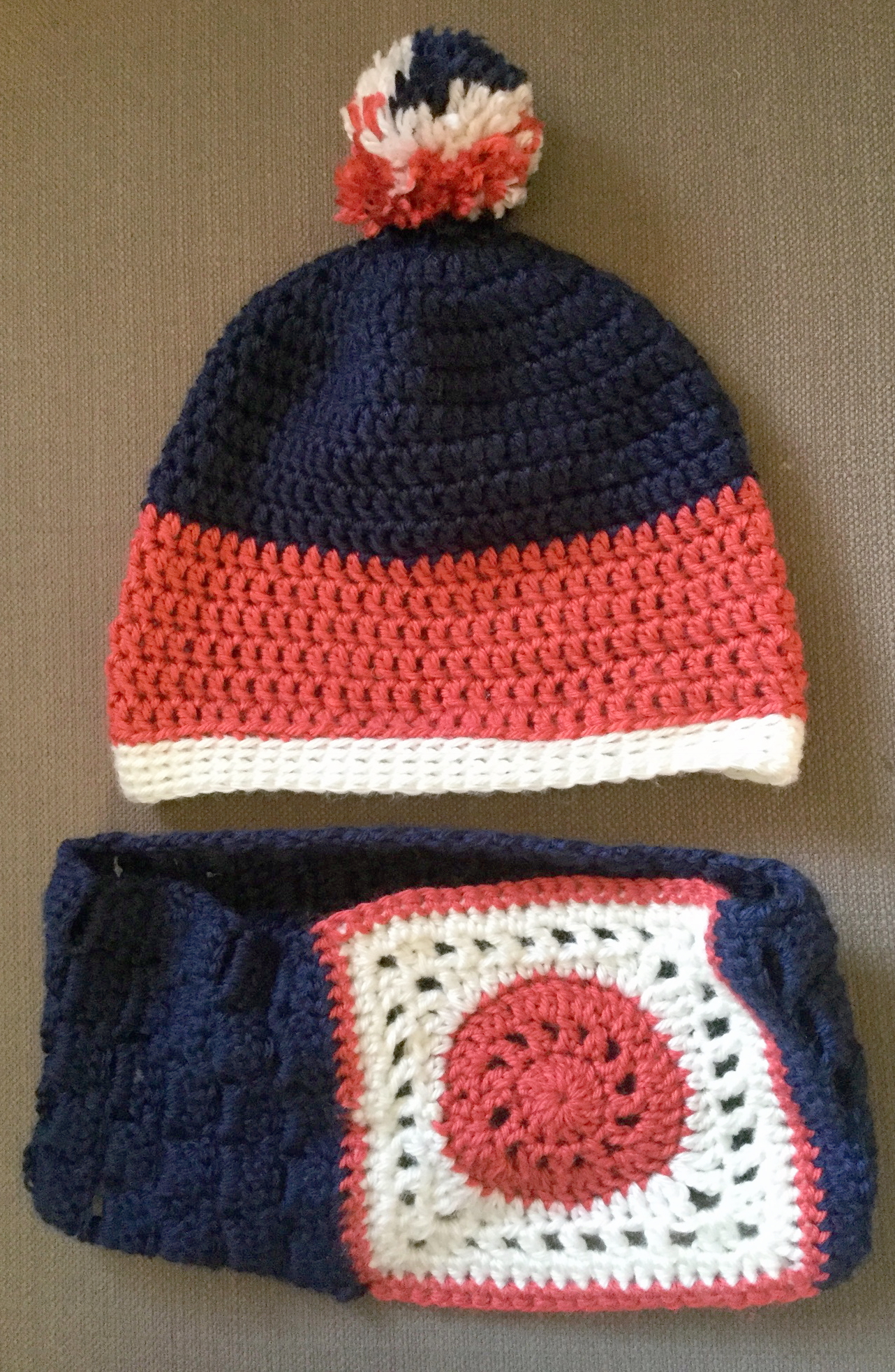 My first pom-pom hat - and I really liked experimenting with the granny square/brick stitch combo cowl
