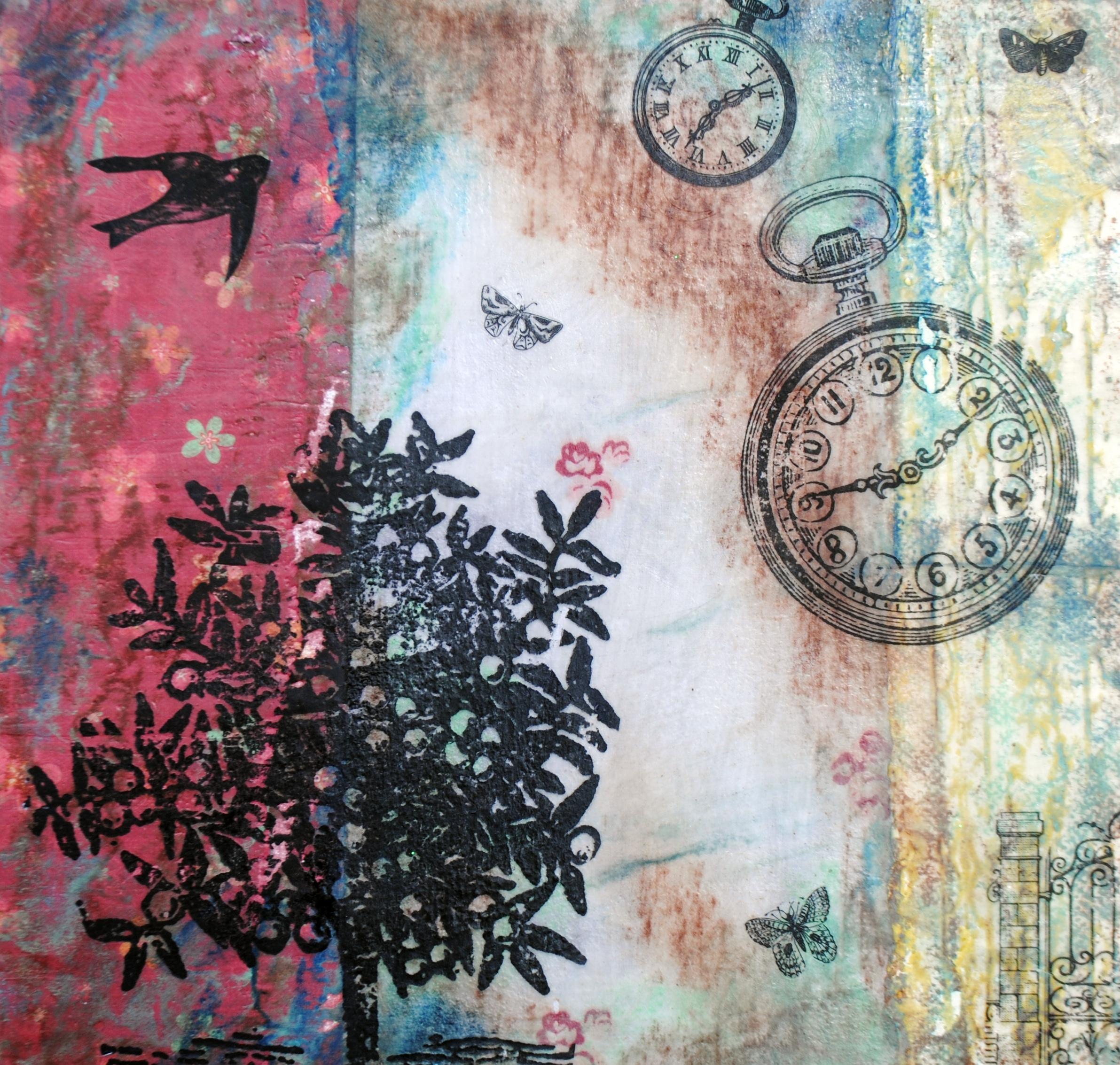 Encaustic on Wood, 12 x12, Tempis Fugit, Jennie Schut