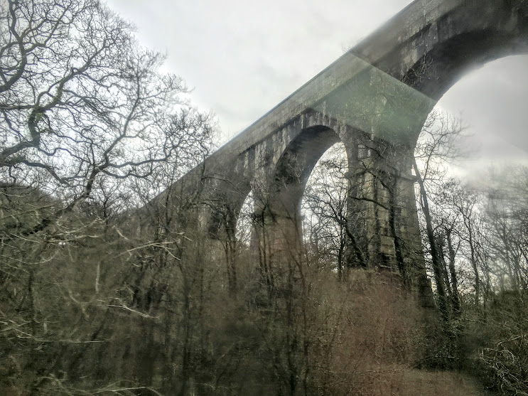The Treffry Viaduct, as seen from the train.