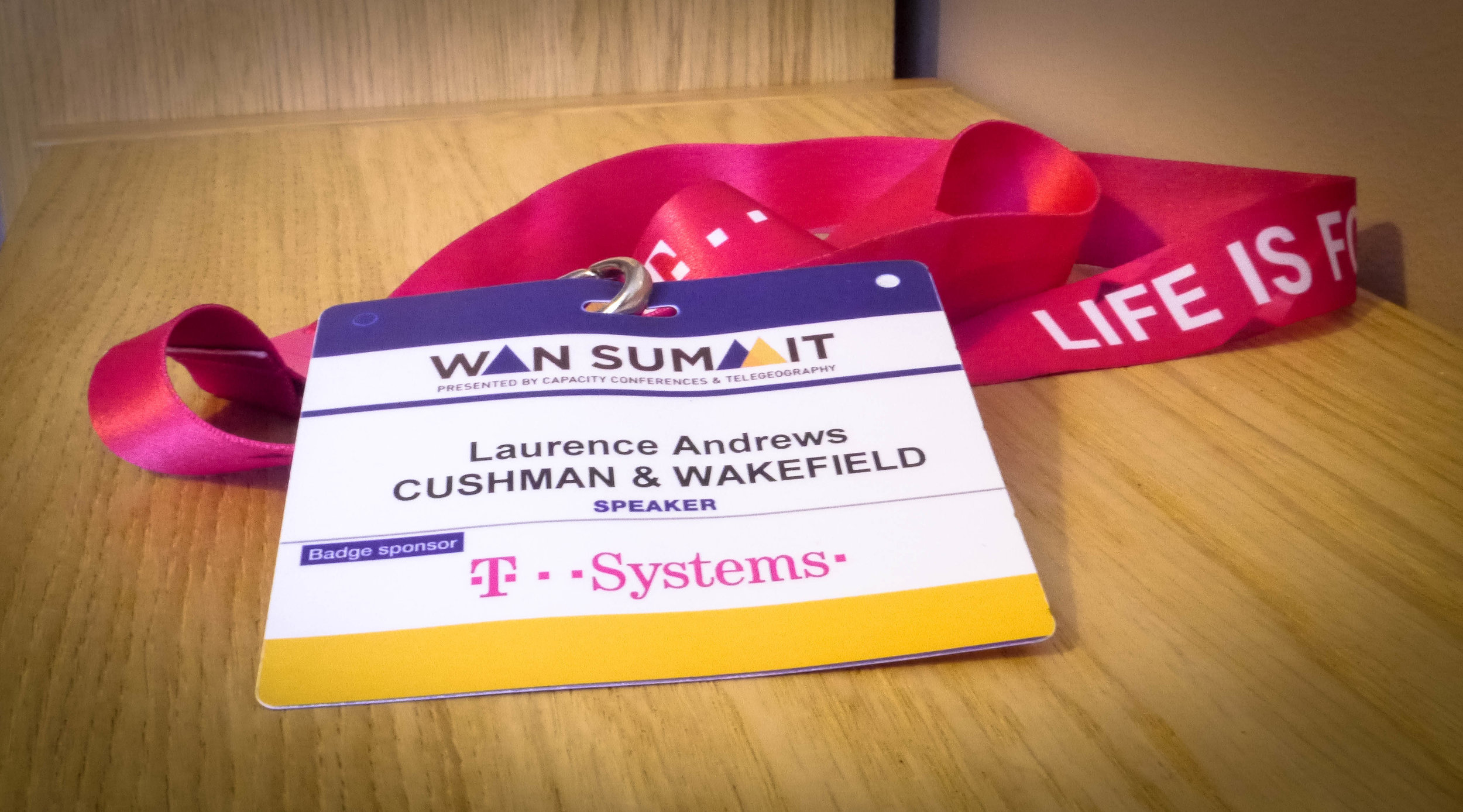 My badge for WAN Summit London, 2017
