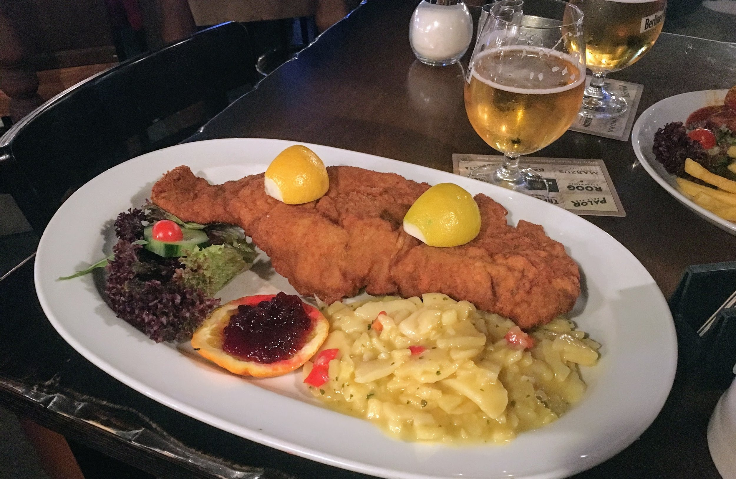 Berliner Kindl and Veal Schnitzel, Berlin, Germany