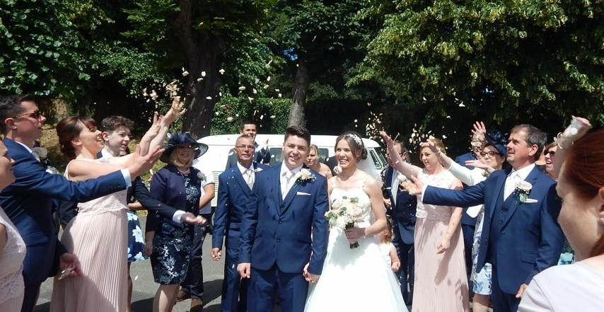 Mr & Mrs Jones outside All Saints Church, Frindsbury, Kent