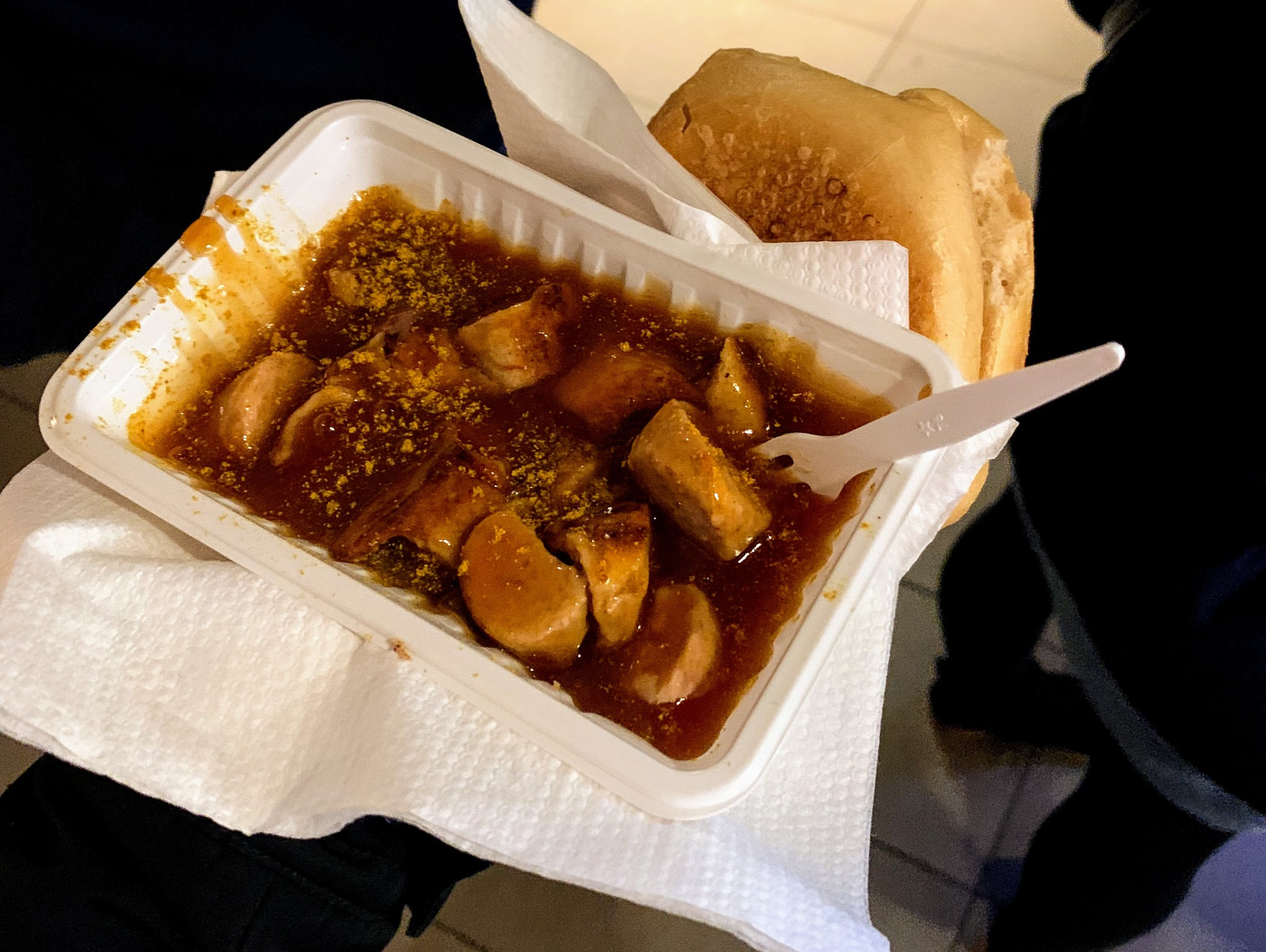 Currywurst from a street food stall