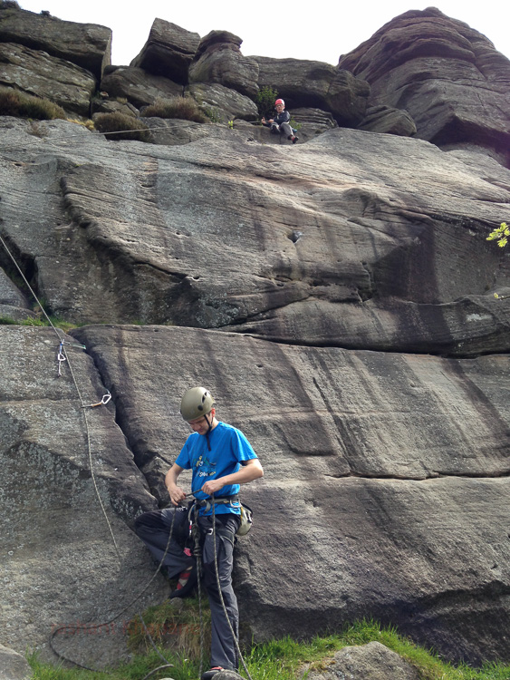 Mark and Andy starting with the soft option to lead on the famous three pebble slab (E1, 5a).