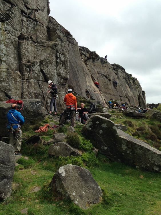 A relatively warm day meant the crag became a jamboree for the climbers!