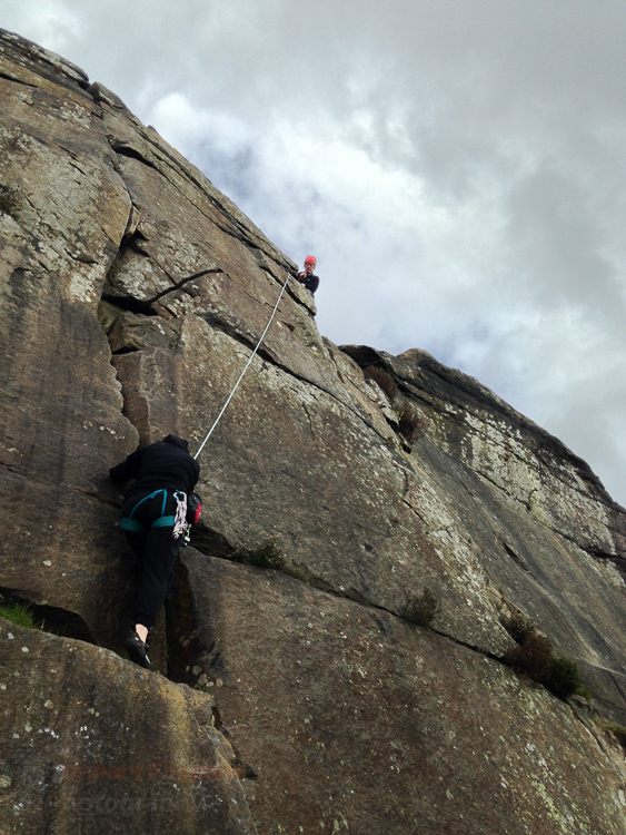Trapeze (VD) was a fun climb, here Mark was leading.