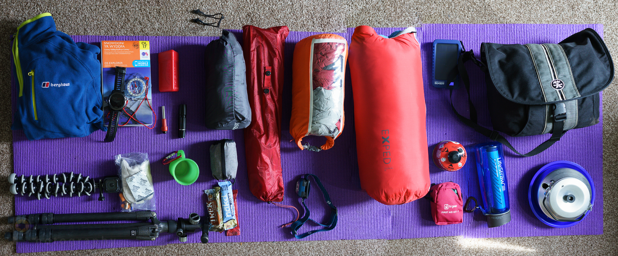 My typical backpacking / wild-camping gear for a nights outing. Some of the gear is now retired or replaced with something lighter or better performing.