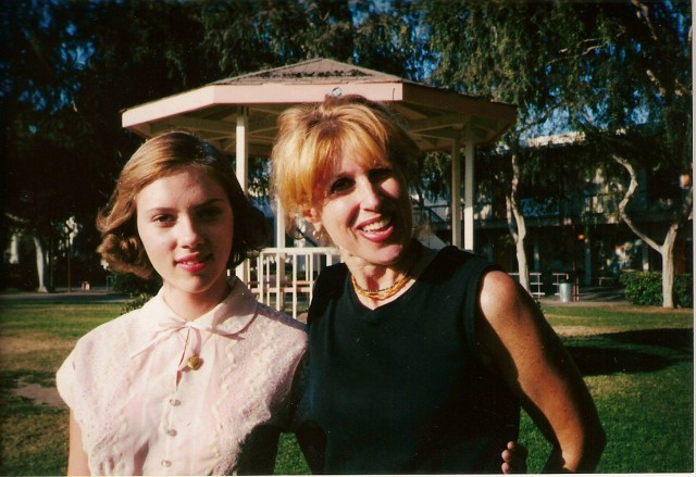 "With Scarlett Johansson on set of the ""Man Who Wasn't There"""