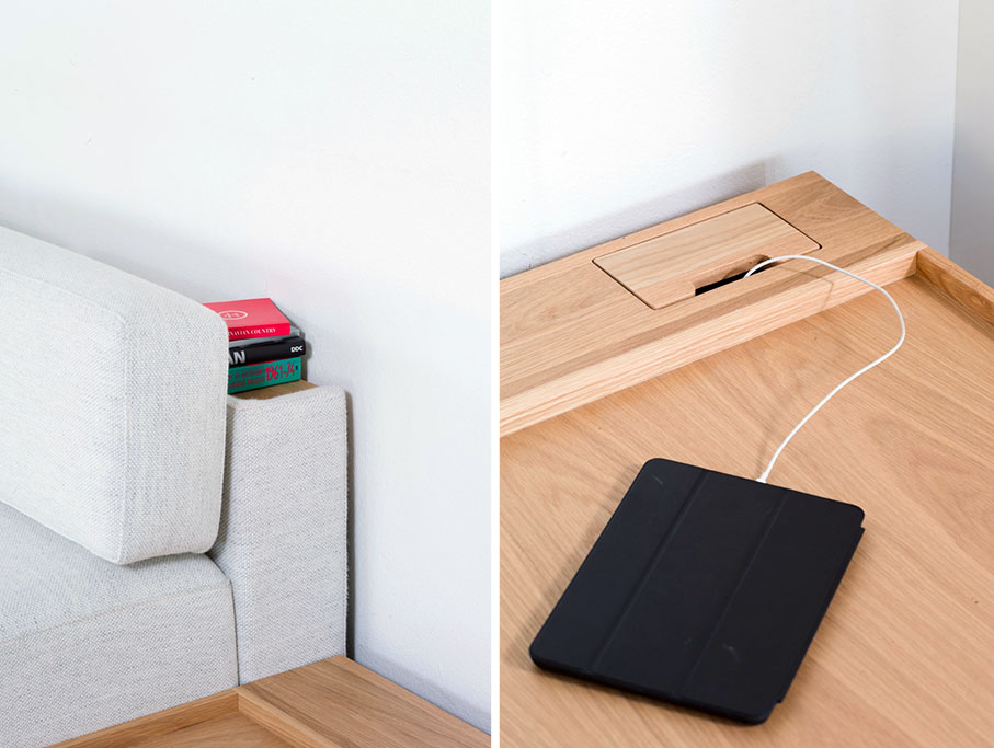 """Detail of shelf behind sofa and""""hidden"""" outlet (optional)"""