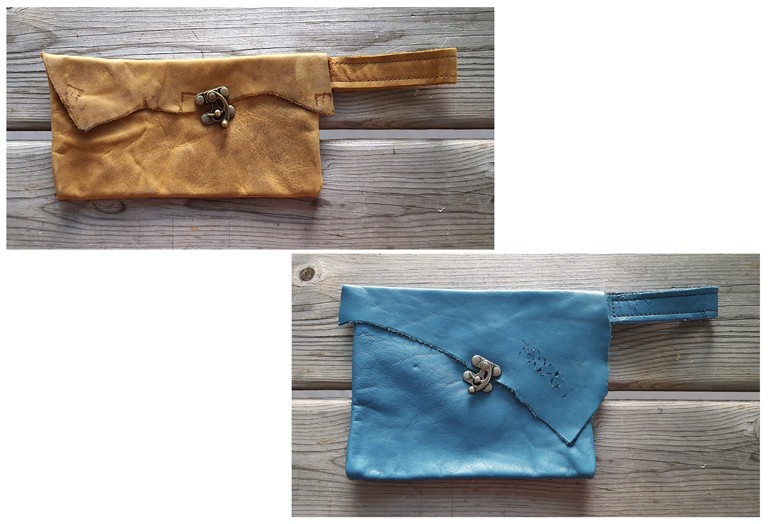 Leather wristlets made from scrap, upholstery leather.