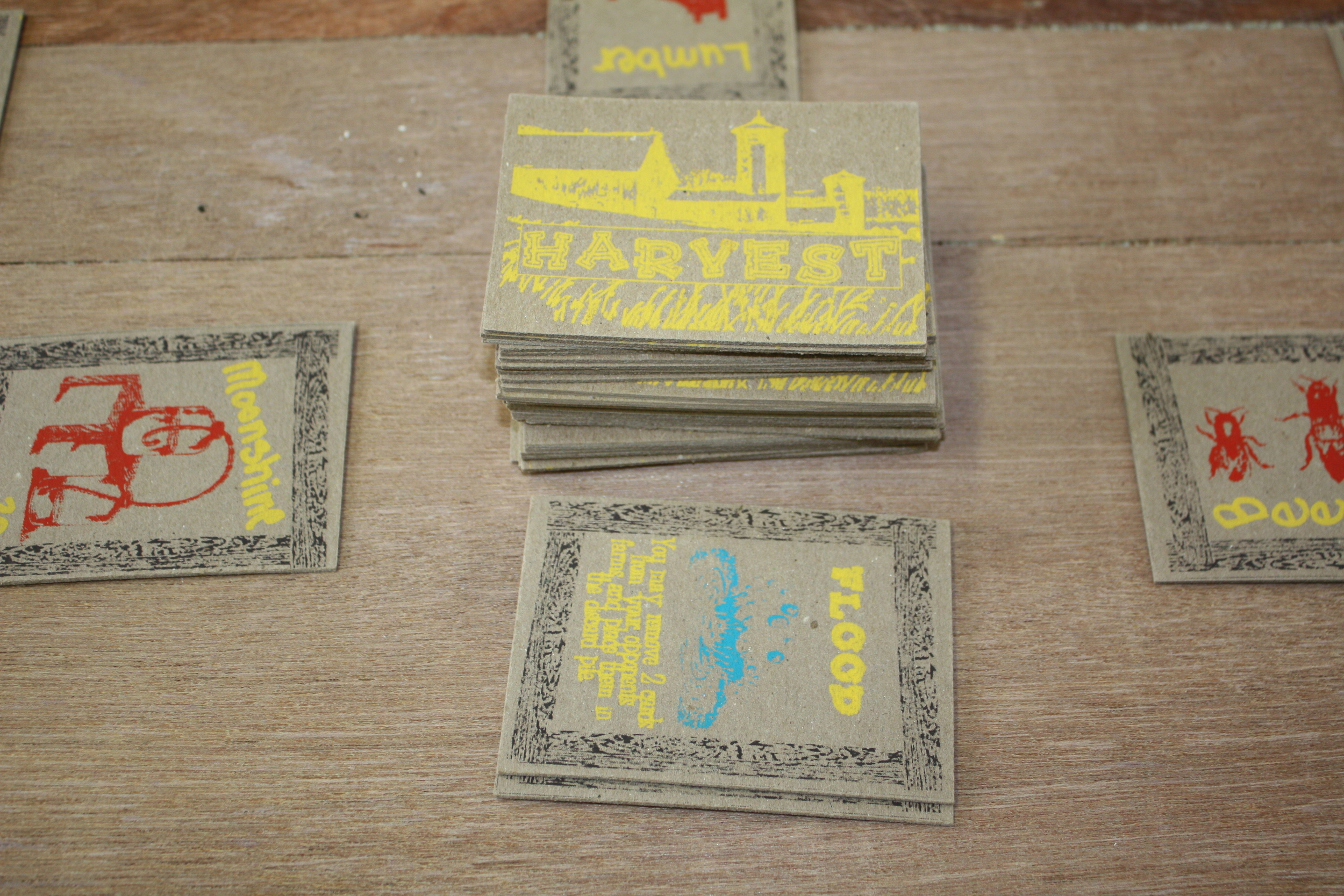 Silkscreened Card Game on Chipboard, 60 pieces, 2013