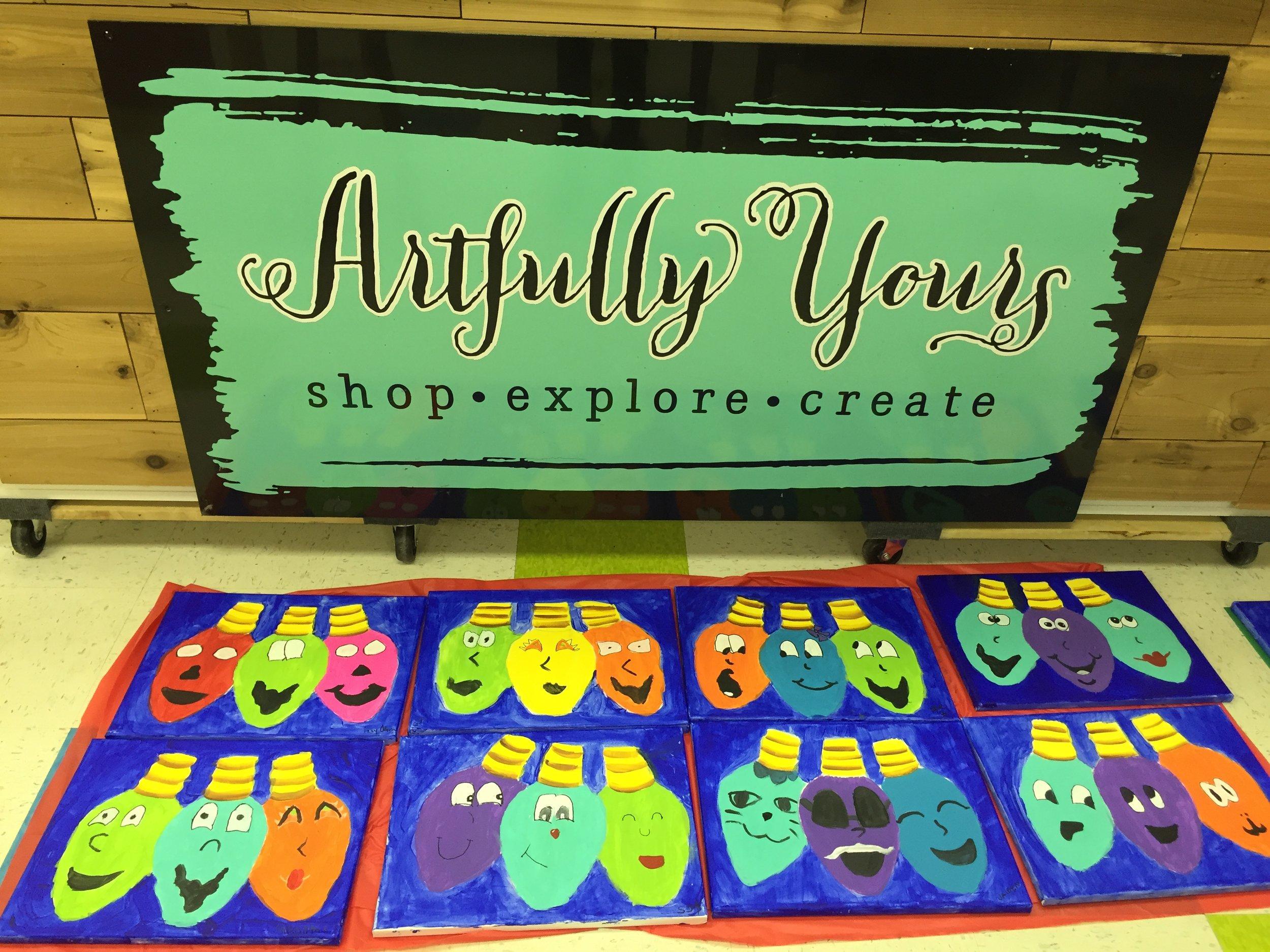 Children's art class at Artfully Yours in Williamsburg, Va.