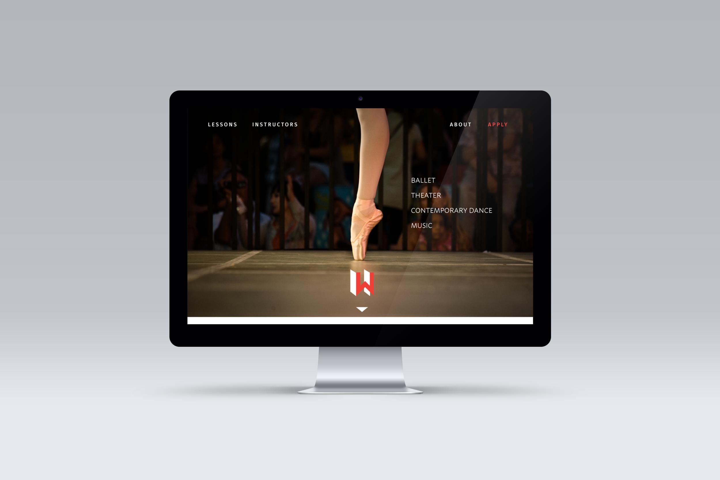 Main website landing page on desktop display