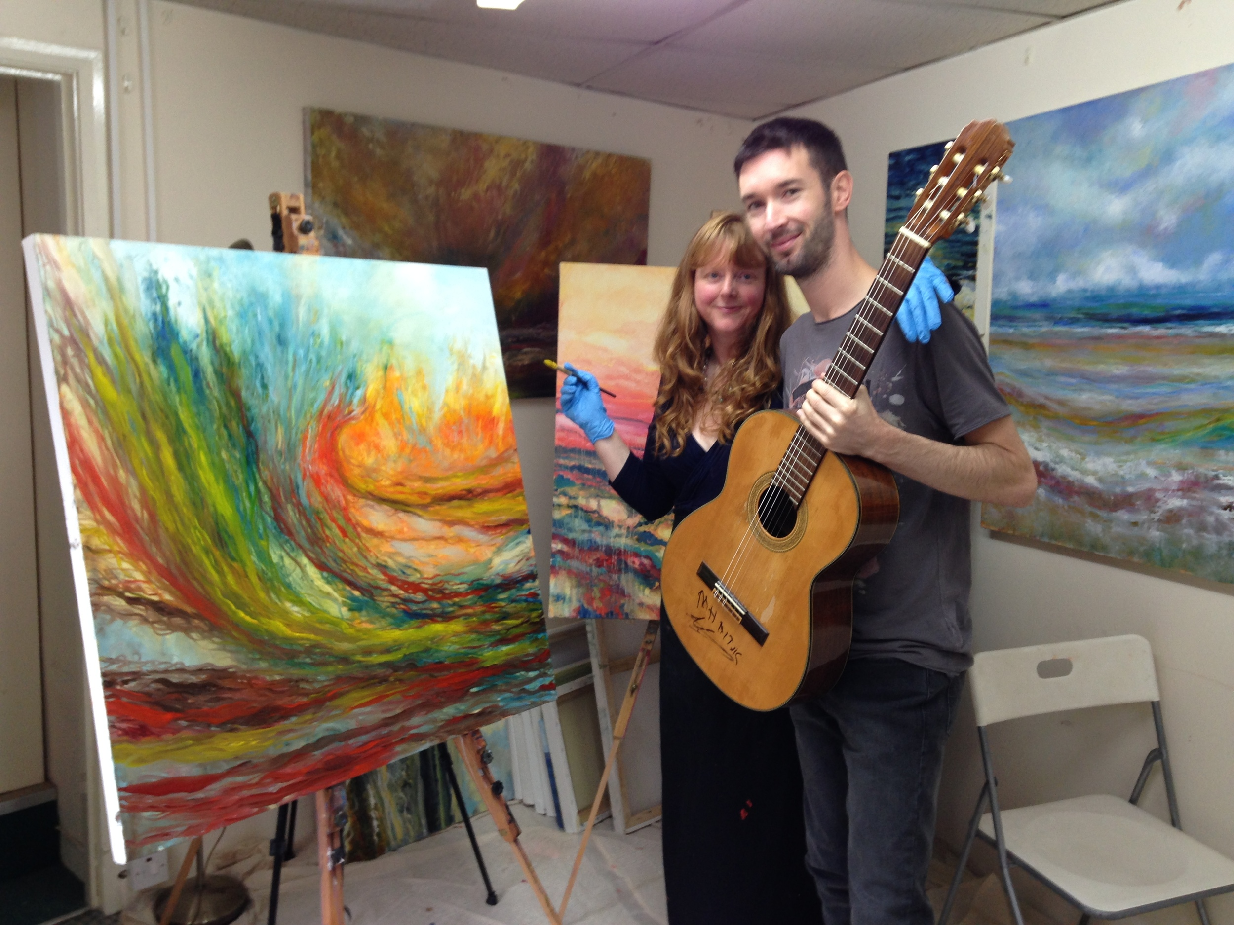 Katie sarra and adam westcott in katie's studio at the aardvark gallery in teignmouth