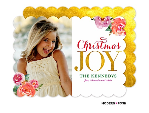 With florals at the top of the trend right now we've created a match made in heaven with watercolored blooms AND beautiful metallic gold. This card is such a perfect mix of traditional yet perfectly on-trend.  Be sure to check out all the Modern Posh Holiday cards today to find the design that's perfect for you.