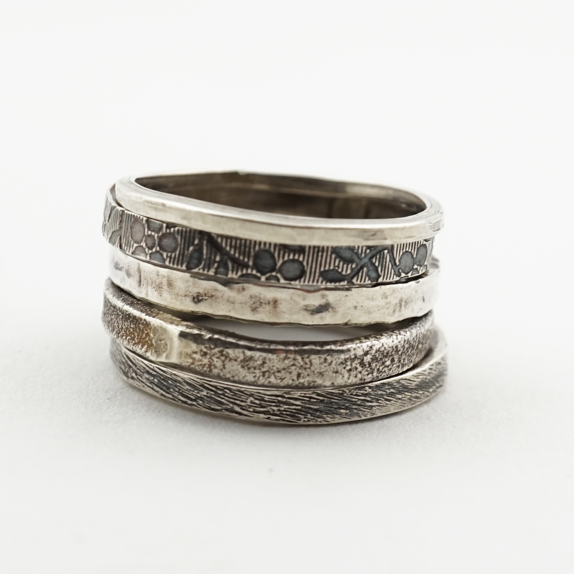 Sterling Silver Stacking Rings with Texture