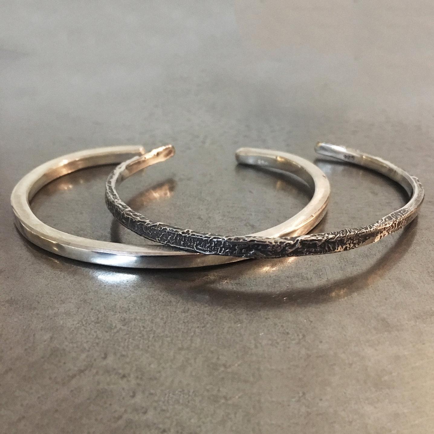 Organic Unisex Silver Cuff Bracelets