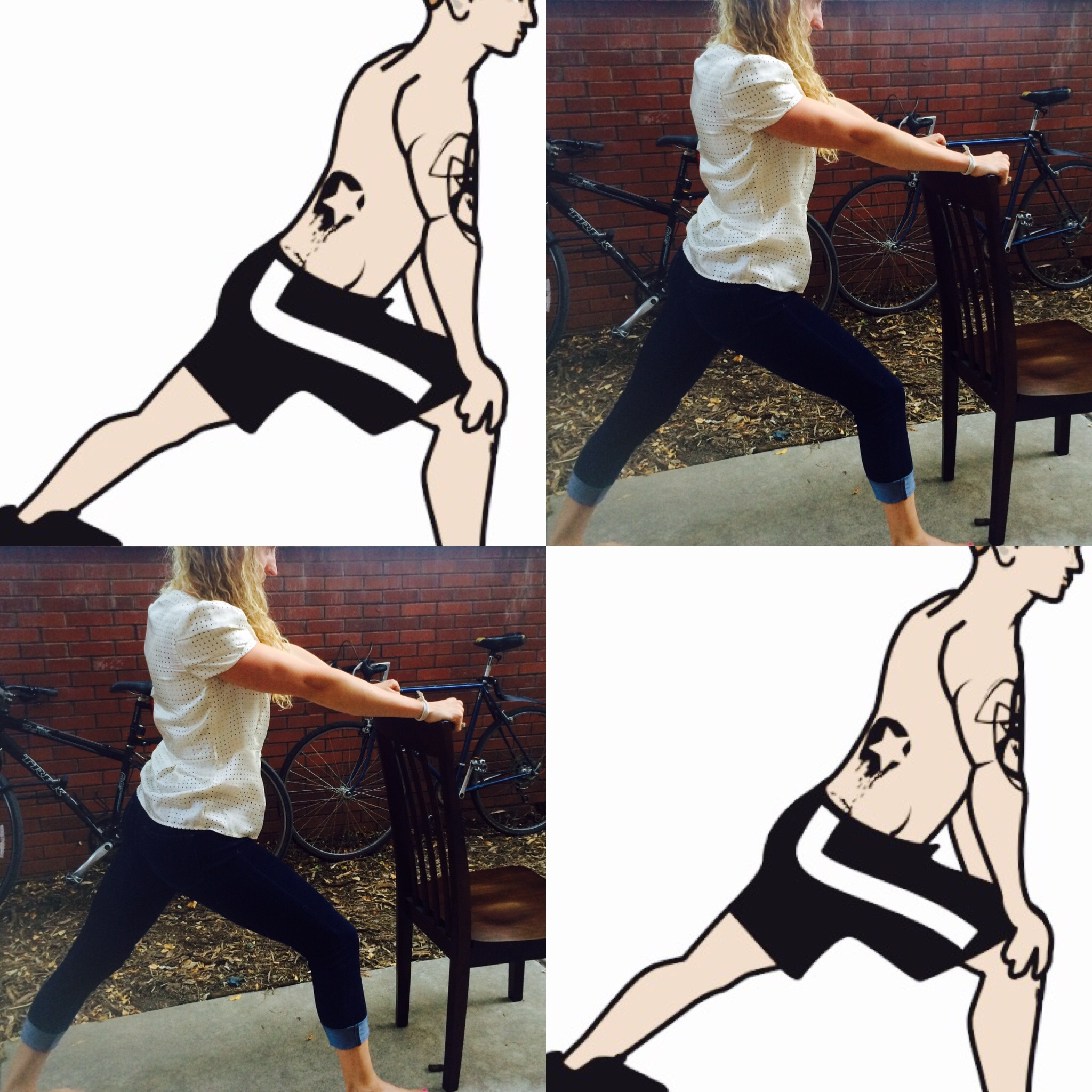 From a stride stance, lift your back heel off the ground; dip hips back and work the heel to the ground, keeping a straight knee. Hold here for 30 seconds to two minutes before switching legs. Feel free to use your desk or chair for stability and leverage.