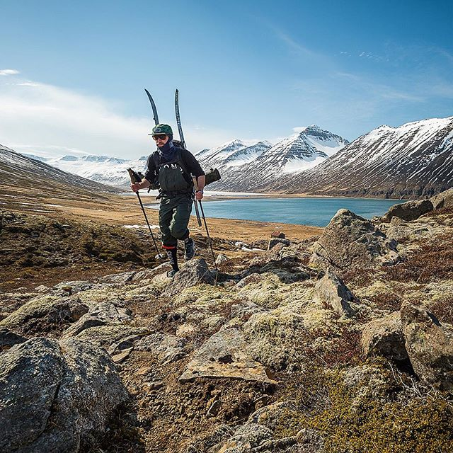 It seems our #Iceland trip has mainly consisted of waiting for weather, #walking, #touring, #climbing, #sweating, waiting for weather, more of the above with a dash of #CamperLife to fill the gaps! We've made it to some incredible spots though, here's @MJHandford trudging his way up to some coastal laps on an 11 hour round trip.  We just got out from two nights #camping in the #mountains in some glorious weather. The sky never really went dark so no aurora, but still some magical sights to be had and spring slush to shred!  @SparkRandD @JonesSnowboards @MonsRoyale @SmithOpticsNZ @CactusOutdoor @Airblaster @KukuCampers 📷 #Nikon #D4s 17-35mm f/2.8 at 17mm, f/11, 1/500s, ISO 250