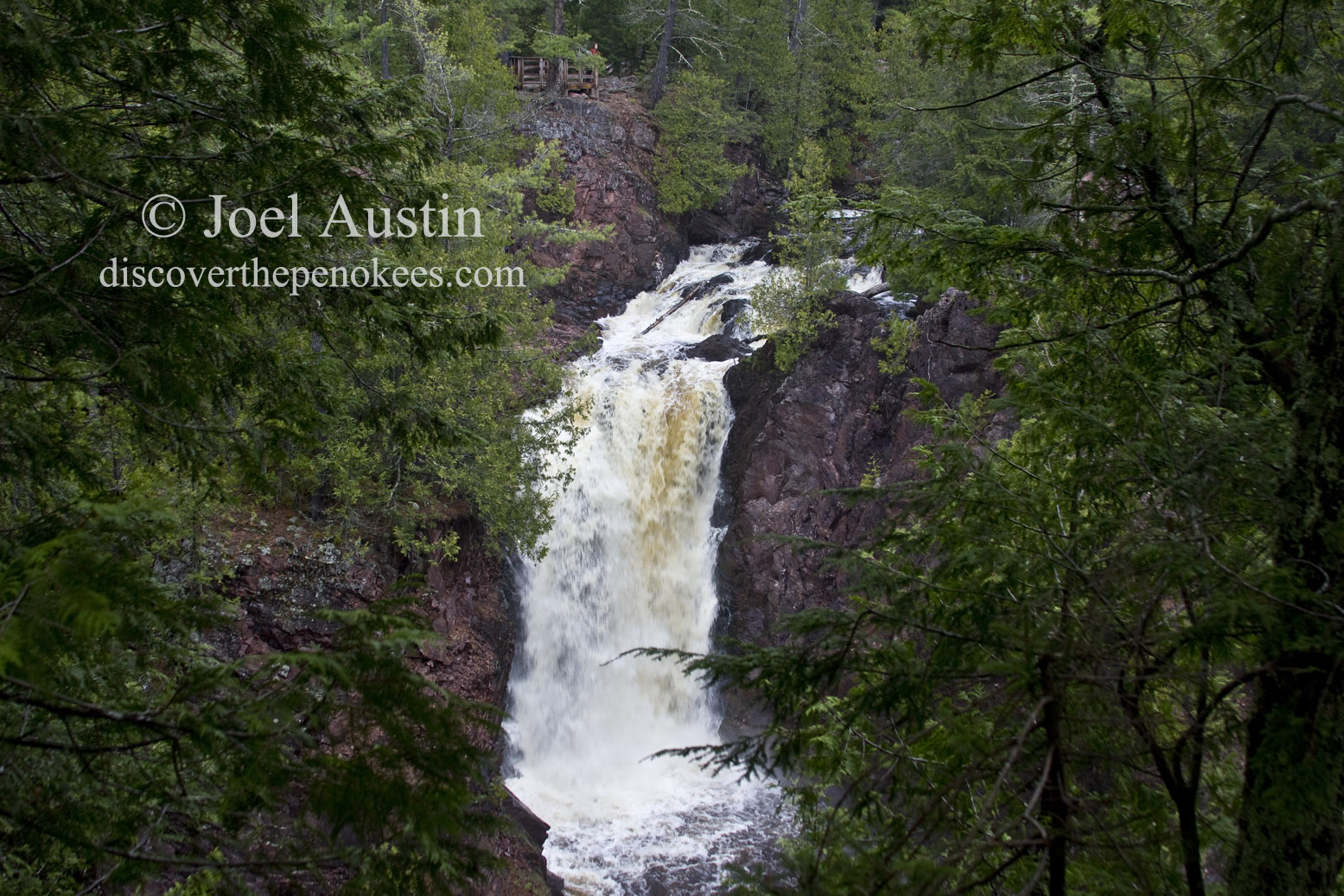 Water cascading over Brownstone Falls into the Bad River, in Copper Falls State Park.