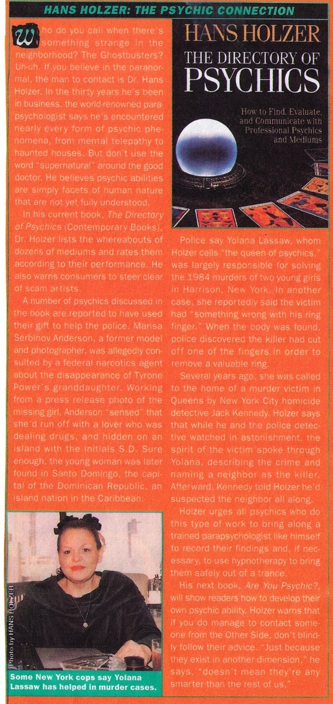 """An article talking about Hans Holzer's book, """"The Directory of Psychics,"""" featuring Yolana."""