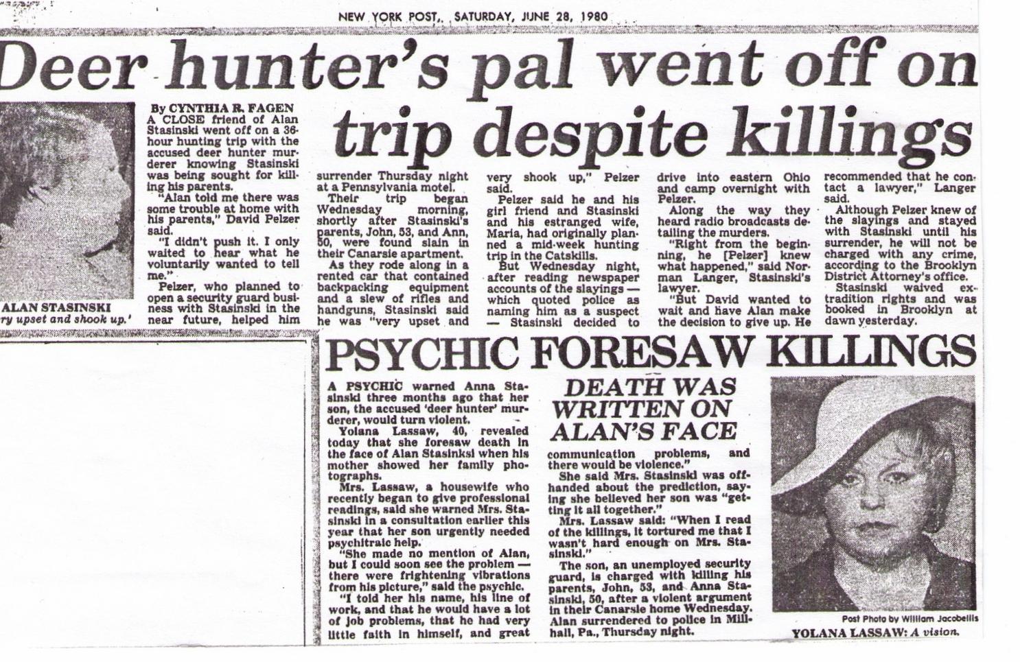Yolana's New York Post, June 28Th 1980 Article