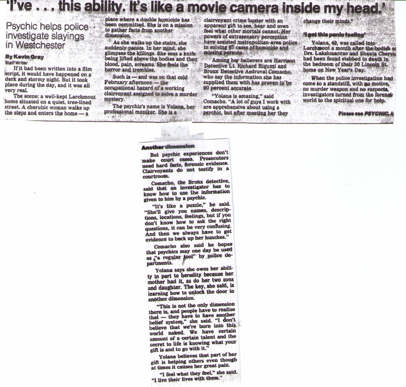 Article featuring Yolana by Kevin Gray. Psychic helps police investigate slayings in Westchester.