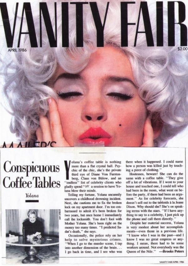 Yolana's Vanity Fair April 1986 article