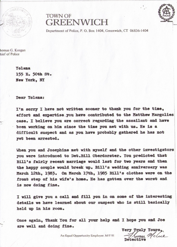 Thank you letter to Yolana, from Thomas G. Keegan Chief of Police