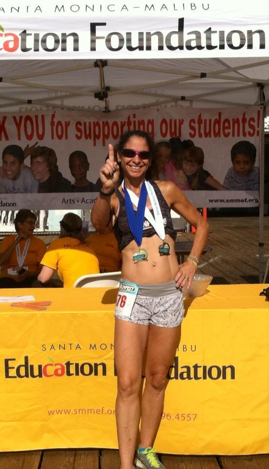 Jennifer after the Santa Monica Education 5k