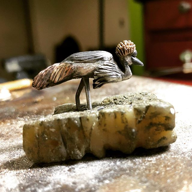 Grey Crown Crane - All hand fabricated from melted down sterling silver, yellow bronze and copper scraps.