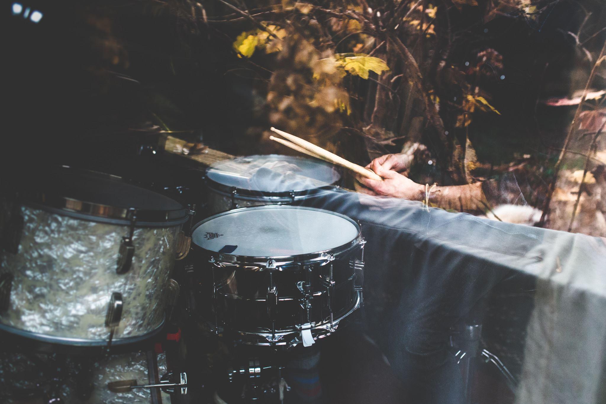 drums through the studio window