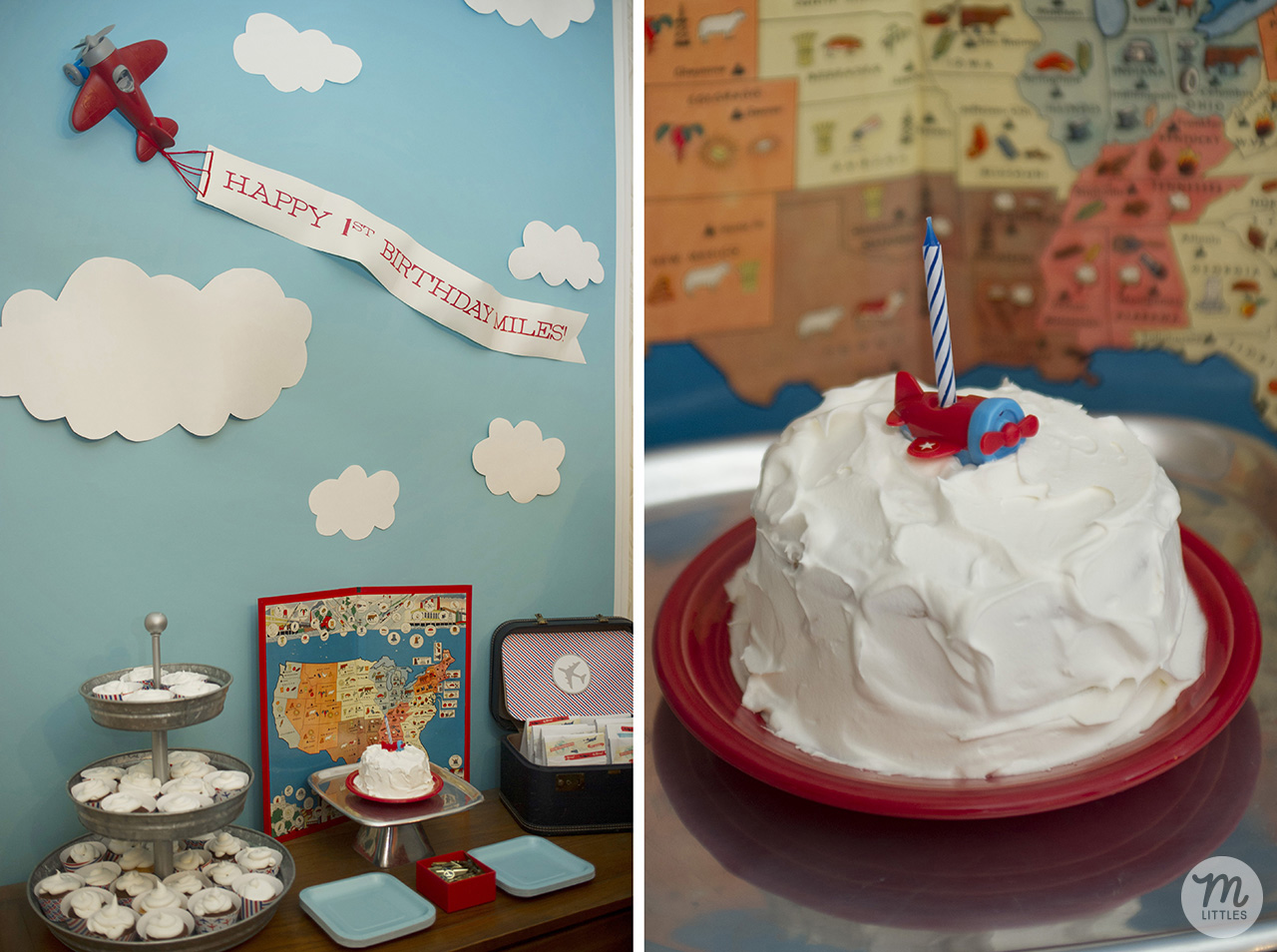 I made a smash cake for Miles and cupcakes for everyone else. Chocolate and vanilla, both from cake mixes, with Cool Whip frosting. We're really fancy like that. I also used a few old travel themed board games from my parents' house to decorate. The little  airplane candle holder  we got from Amazon.