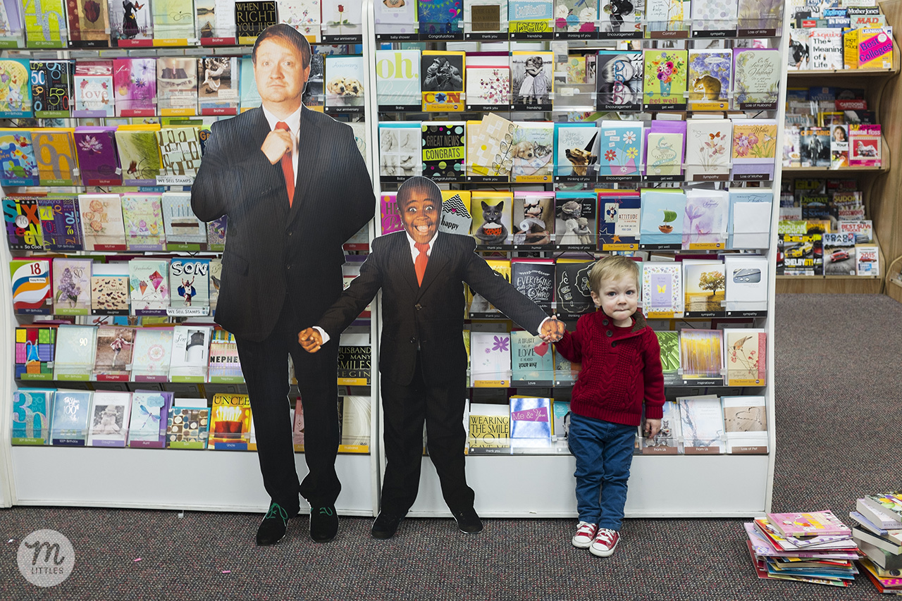 Anderson's Bookshop in Naperville, IL had these hilarious cardboard cutouts made from some photos I took back when we were working on photos for the book. Miles is not giant--these were definitely not life-size, but about a foot smaller than Robby and Brad in real life. Miles interacting with them was super adorable.