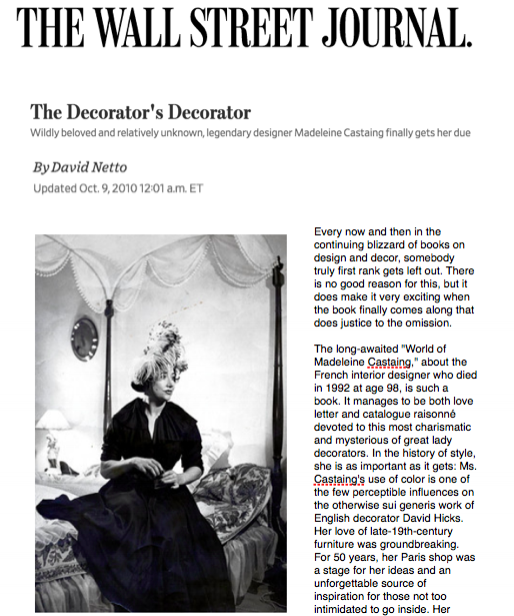 Wall Street Journal - The Decorator's DecoratorOctober 2010