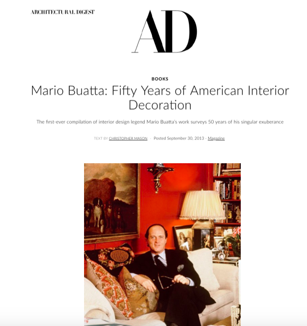 Architectural Digest - Mario Buatta: Fifty Years of American Interior DecorationSeptember 2013