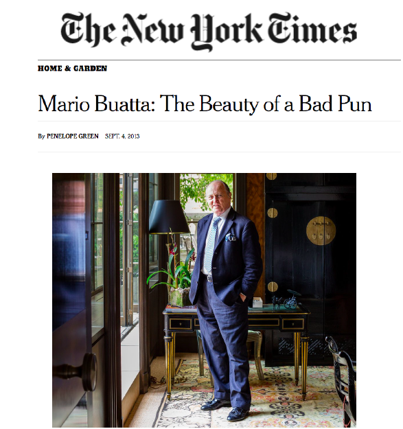 New York Times - Mario Buatta: The Beauty of a Bad PunSeptember 2013