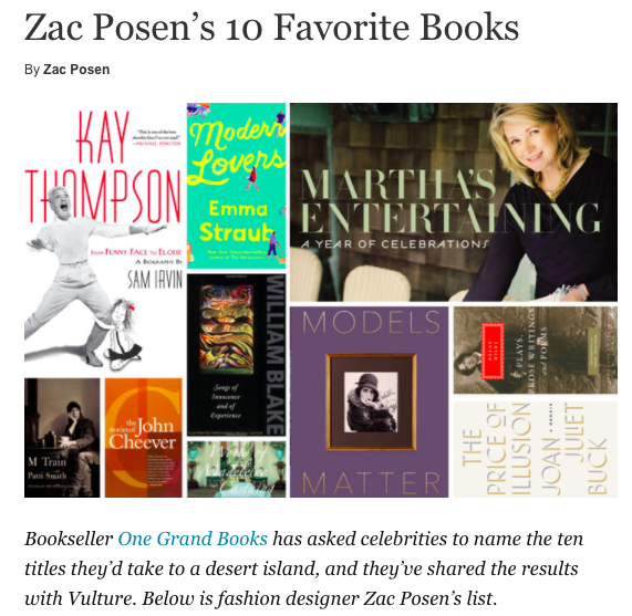 Vulture - Zac Posen's 10 Favorite BooksJuly 2017