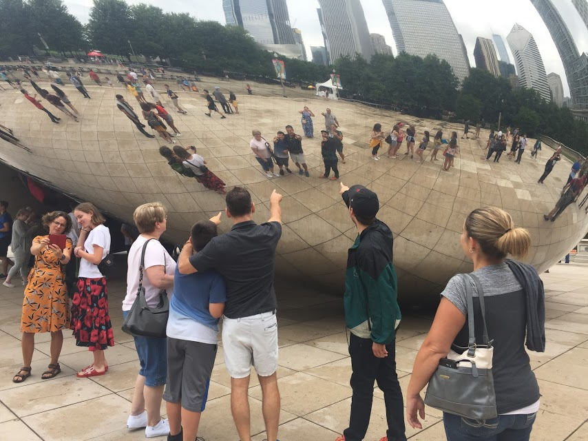 Find Yourself - While visiting Cloud Gate sculpture (aka: The Bean) in Millennium Park you'll be mesmerized. Listen to hear how many foreign languages you can identify.