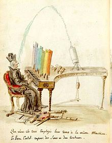 early caricature of a color organ in use