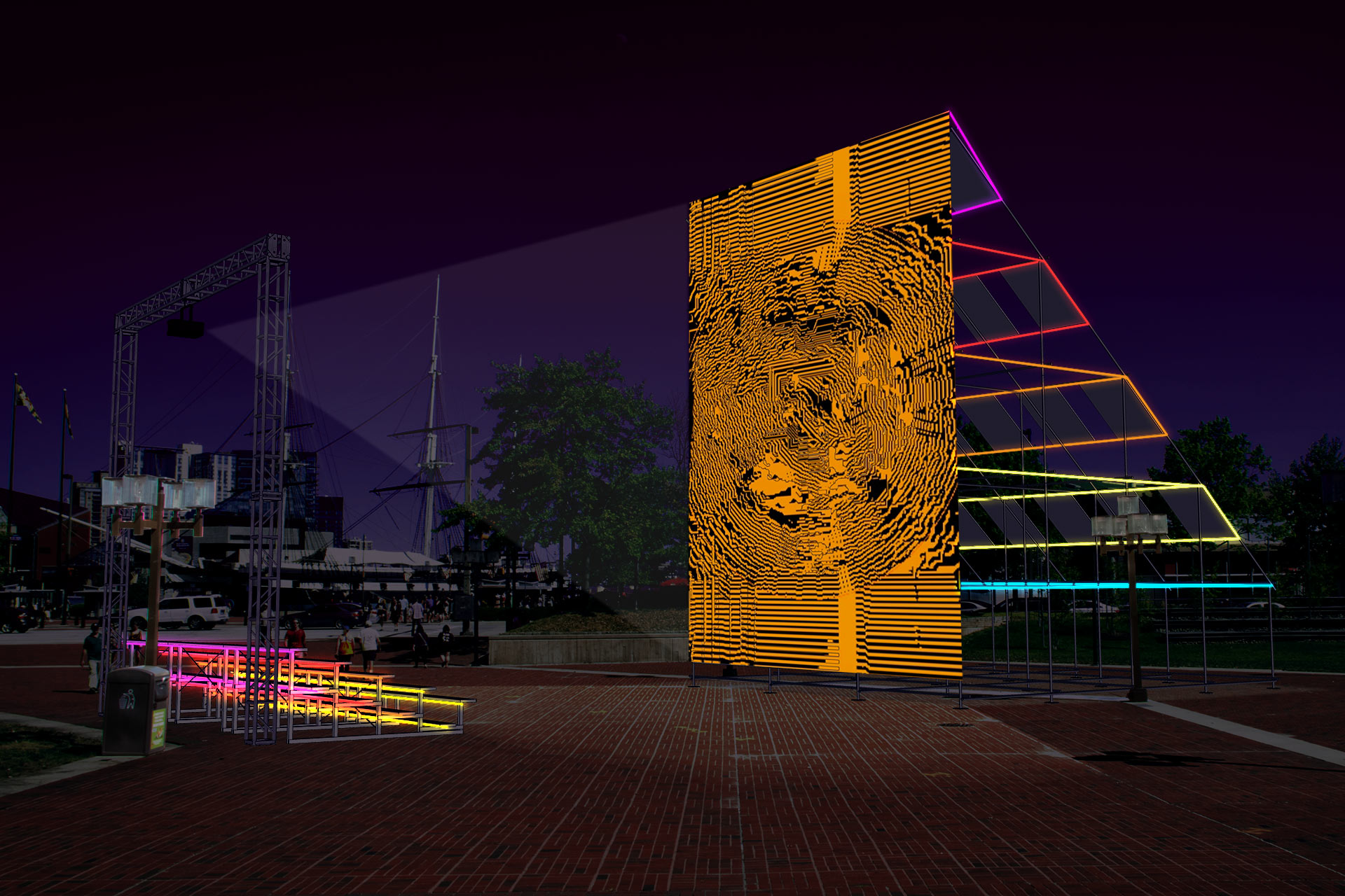 """Sun Stomp     Premiering at the 2018 Light City Baltimore festival, Sun Stomp was a solar powered light and interactive audio-visual environment that for eight nights activated McKeldin Square. The monumental scaffolding sculpture featured an interactive projection on one side and an array of sixteen 290 watt solar panels on the other. Electrical energy collected during the day and was stored as chemical energy in a battery bank which provided electricity to a colorful array of LED neon lights illuminating the structure after dark. Participants were invited to stomp on the bleacher footboards to trigger sun-inspired visuals and amplified sounds of the Sun sourced from NASA's Solar Dynamics Observatory. Passersby were also invited to peer into the custom built """"Power Shed"""" to learn about the solar technology and AV controls energizing the project. Foot-stomping powers combined, participants visually and experientially conjured the awesome and beautiful power of the sun.   https://grahamprojects.com/projects/sunstomp/"""